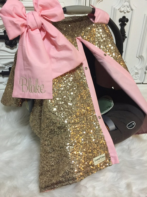 Gold sparkle car seat canopy / carseat cover / carseat canopy / ooak / sequin / infant car seat cover / gold / sparkle