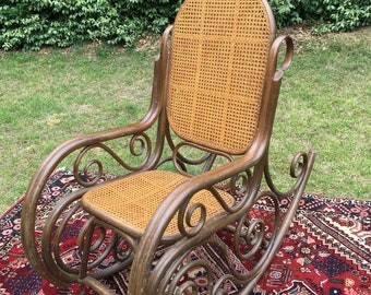 Antique Double Caned elaborate large bentwood Rocker