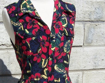 deep red flowers sleeveless rayon crinkle dress 80s