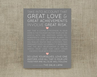 Great Love Print (UNFRAMED) - Ready to ship in 1-3 business days - Makes a wonderful wedding, anniversary, engagement or housewarming gift!
