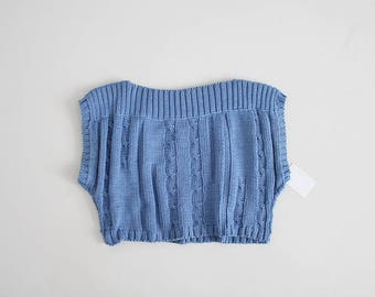 cornflower blue sweater | cropped sweater | ribbed sweater