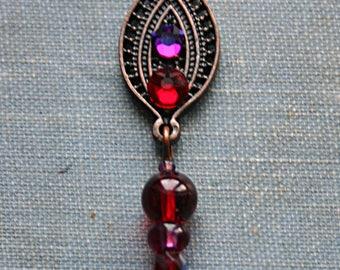 Red Paisley Reusable Bindi with Beaded Charm - Tribal Belly Dance, Third Eye, Rhinestone, Swarovski, Forehead Jewelry, Bollywood, Purple