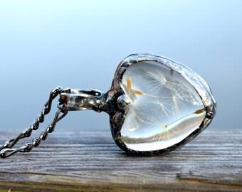 Dandelion Necklace for Women, Dandelion Gift, Real Dandelion Seeds Encased in Glass, Heart Jewelry, Womens Jewelry  (2281)
