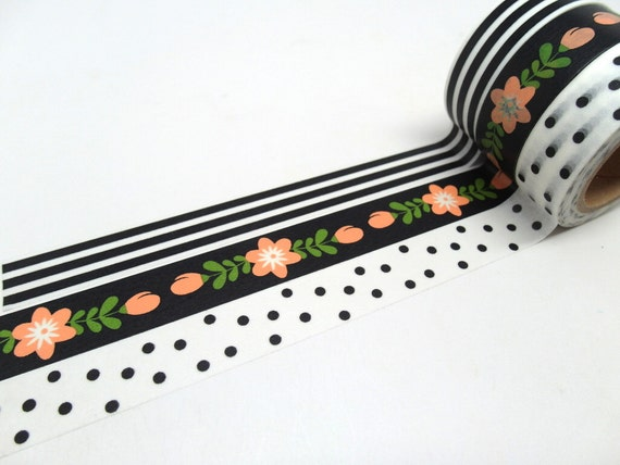 Salmon Pink Cherry Blossom Black And White Stripe Black And