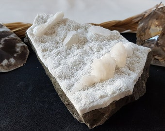 Stilbite on Quartz / Apophyllite - Peace, Love, Joy, Happiness