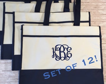 Set of 13- Monogrammed Tote Bags- Bridesmaids Gifts- Bridal Party Gift Bags- Personalized Gifts- Canvas Tote Bags