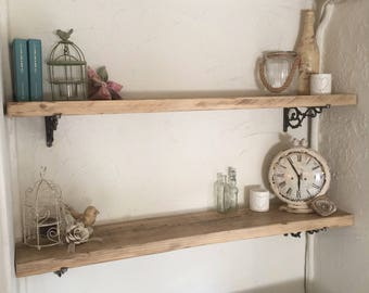 Reclaimed wooden scaffold board shelving - wood wall shelves  perfect for the kitchen, bedroom or lounge - FREE UK SHIPPING!
