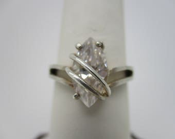 Sterling Silver Marquise Cubic Zirconia CZ Statement Ring Size 7