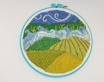 Landscape embroidery painting