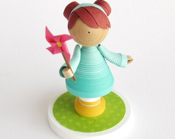 Made to Order Quilled paper art figurine with pinwheel, keepsake, personalized gift, gift under 75