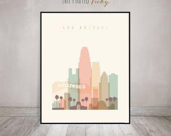 Los Angeles, Wall art, Poster, Art print, LA California skyline, City poster Typography art, Home Decor, Digital Print, ArtPrintsVicky