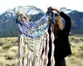Custom Big Bulky Thick Shawl Cape Scarf Long Wraps Fringe Wool Warm Blue Grey Pink Wild Handknit Scarf from Handspun Yarn Yospun