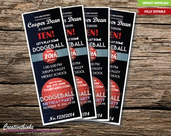 Editable Dodgeball  Inspired Printable Ticket Invitation - Fully Editable - Digital File - 2.5x7