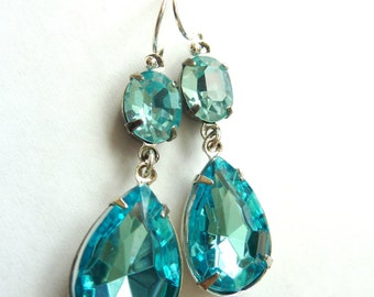 Aquamarine Earrings Aqua Blue Teardrop Drop March birthstone Vintage Estate Style Earrings