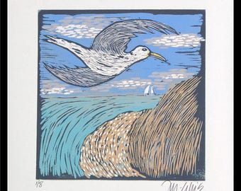 linocut, seagull, seascape, blue and beige, beach scene, beach , sailboat, beach house decor, printmaking, blue sky, ocean, landscape