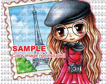 Digital Stamp -Dreams of Paris(#346), Digi Stamp, Coloring page, Printable Line art for Card and Craft Supply