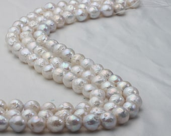 10-11mm Wrinkled Nuclear Pearl Strand Beads, Uneven Nucleated Loose Pearl Strand, Natural White, A+ Quality