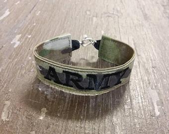 Army Name Tape Military Bracelet, Army Camo Bracelet, Custom Army Jewelry, Army Gifts