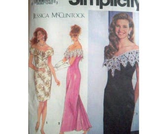 Simplicity Pattern 7817 - Vintage Jessica McClintock Dress Pattern - Evening Dress Pattern - Uncut