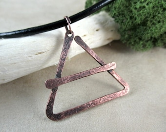 copper necklace, alchemy air symbol, hammered copper, metalwork, handmade