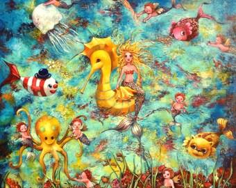 "Acrylic on canvas. ""Aquatica"" 100 x 100 cm. A fantasy underwater world! Mermaid, seahorse, celtic, fish, octopus,"