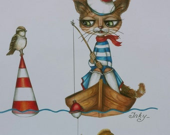 """Greeting Card """"Fisherman Cat"""" 5 X 7. cat picture. Cat original illustration. Thank you card. Greeting card. Fisherman. Fishing. French. Cat"""