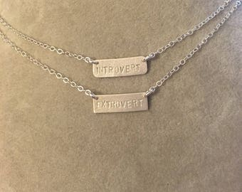 Introvert, Extrovert, or Ambivert  personality type sterling silver stamped bar handmade necklaces -- geek chic  psychology