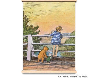 Winnie The Pooh Nursery Print,  A Map of the Hundred-Acre Wood, Classic Pooh Baby Nursery,  Pooh Corner Rules for Playing Pooh Sticks Game