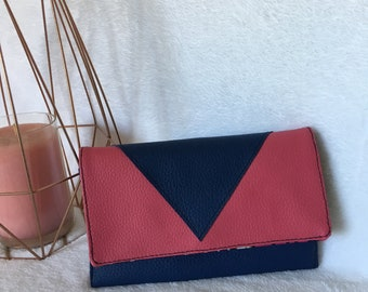 Faux leather fuchsia and Navy Blue women's wallet //porte currency and cards //interieur wax fabric