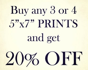 """Three or Four 5""""x7"""" Prints, Discount, Photography"""