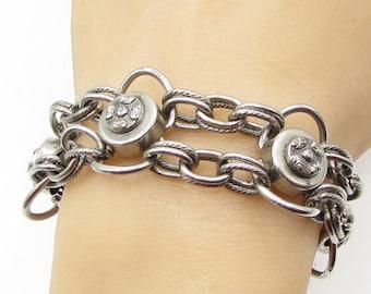 Freirich 925 sterling silver -  filigree stacked rolo 25mm bracelet -  b1171