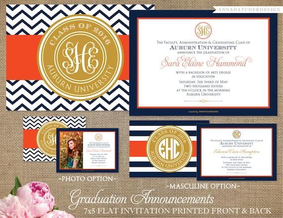 Monogrammed graduation announcementgraduation invitation monogrammed graduation announcementgraduation invitation any color flat folded photo diy printable filmwisefo Images