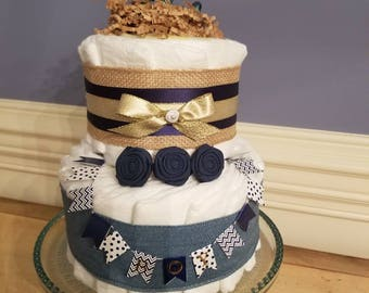 Nautical Diaper Cake with Burlap, Navy Double Faced Satin, Denim Ribbon, Navy,Gold,White, Anchor, Boy Diaper Cake