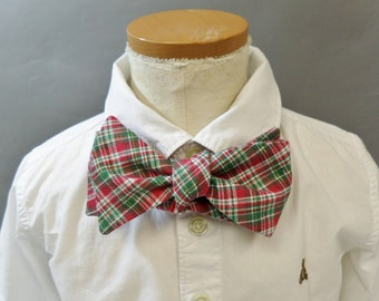 """Bow Tie. Young Adult / Teen. Self Tie / Adjustable. Christmas. Red, Green and White. Cotton. Fits Up to 14"""" Neckband."""
