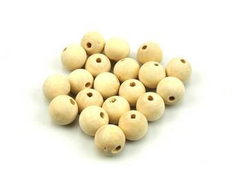 20 14 mm diameter natural wood beads