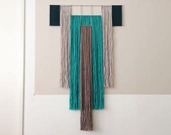 macrame wall hanging with metal grid | geometric tapestry | contemporary fiber art | wool yarn | turquoise, taupe, gray, | colorful interior