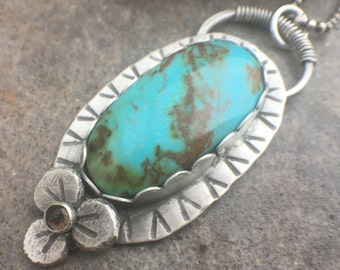 Turquoise Smokey Quartz Sterling Silver Flower Necklace