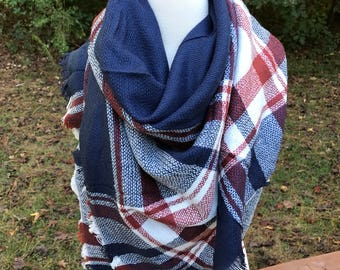 Navy Blue and Burnt Orange Blanket Scarf