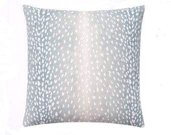 Antelope Print Pillow Cover, Fawn Throw Pillow Cover, 18 20 22 Deer Pillow Cover, Aqua Linen Pillow, Aqua Blue Pillow, Animal Print Decor