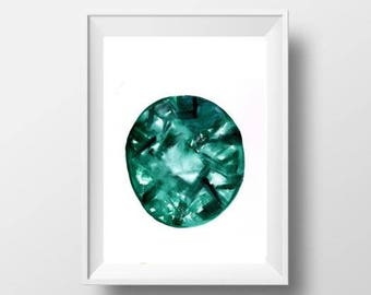 Emerald May birthstone watercolor painting gem stone decor abstract birthmonth print wall art birthday gift for her mother girlfriend him