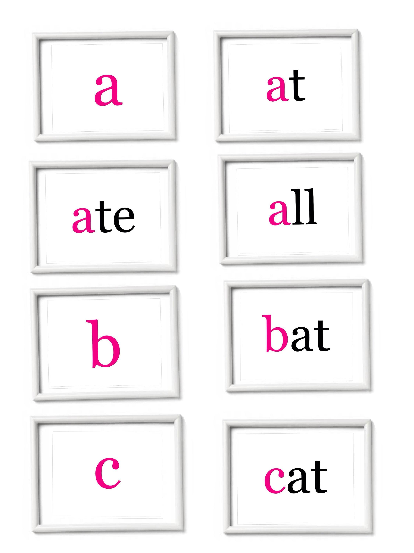 Printable Alphabet Flashcards. Abcs. Beginner phonics.Doman: