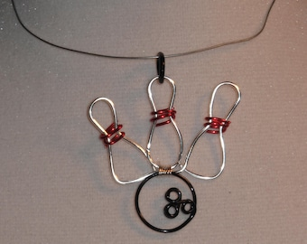 Wire Wrapped Bowling Ball And Pins Pendant