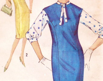1960s Simplicity Sewing Pattern 5266 Womens Dress One Piece Princess Seamed or Jumper and Blouse Size 12 Bust 34 Tailored Dress Pattern