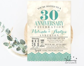 ANY YEAR // Wedding Anniversary Invitation Green Chevron Bokeh Wedding Anniversary Invite Printable OR Printed  // No.737ANNIVERSARY (V2)