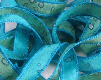 Hand Dyed Silk Ribbon -  Jewelry - Ribbon bracelet pendant Wrist wrap - Quintess - Tropical Sparkle