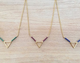 Minimalist Triangle necklace beads gilded with fine gold