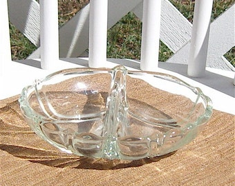 Tree of Life Glass Divided Dish Candy Nuts Relish Vanity Vintage