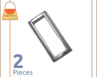 "1.5 Inch Rectangular / Square Flat Rings, Nickel Finish, 2 Pieces, Handbag Purse Bag Making Hardware, 1-1/2"" Rectangle, RNG-AA053"
