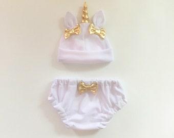 Unicorn Baby Hat & Bloomers Set Ivory