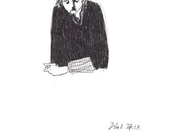 Print of an original drawing -  Zita is sad